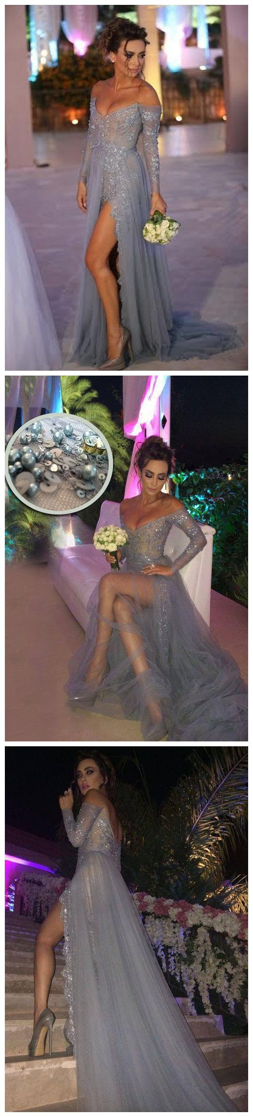 Prom dress,Prom dress 2016,Grey prom dress,lace prom dress,Long sleeves prom dress,Beaded prom dress,Beading prom dress,