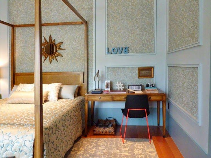 Casa Cor São Paulo 2014   Suite da jovem hippie chic - cornijas decorativas, cama com dossel e layout básico   #interiordesign #dossel #bedroom