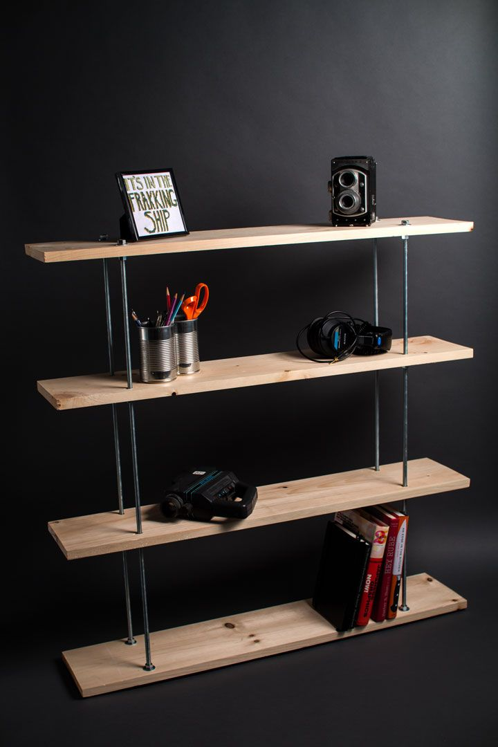 Diy Threaded Rod Shelving Homemade Bookshelves