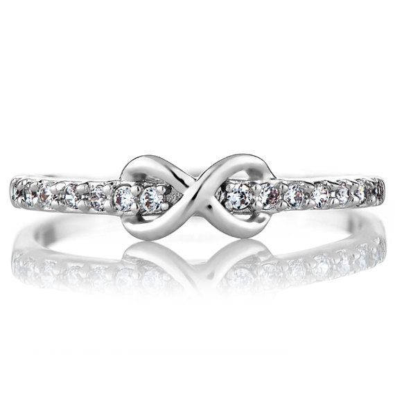 Cz Silver Infinity Charm Petite Stackable Ring Band By