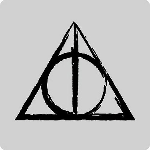 """The Elder Wand,"" he said, and he drew a straight vertical line on the parchment. ""The Resurrection Stone,"" he said, and he added a circle on top of the line. ""The Cloak of Invisibility,"" he finished, enclosing both line and circle in a triangle, to make the symbol that so intrigued Hermione. ""Together,"" he said, ""the Deathly Hallows."""