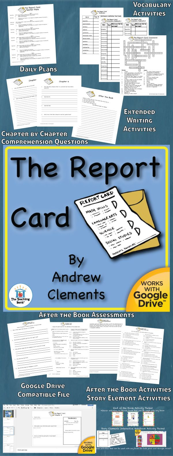 The Report Card Novel Study is a Common Core Standard aligned book unit to be used with The Report Card by Andrew Clements. This download contains both a printable format as well as a Google Drive™ compatible format.