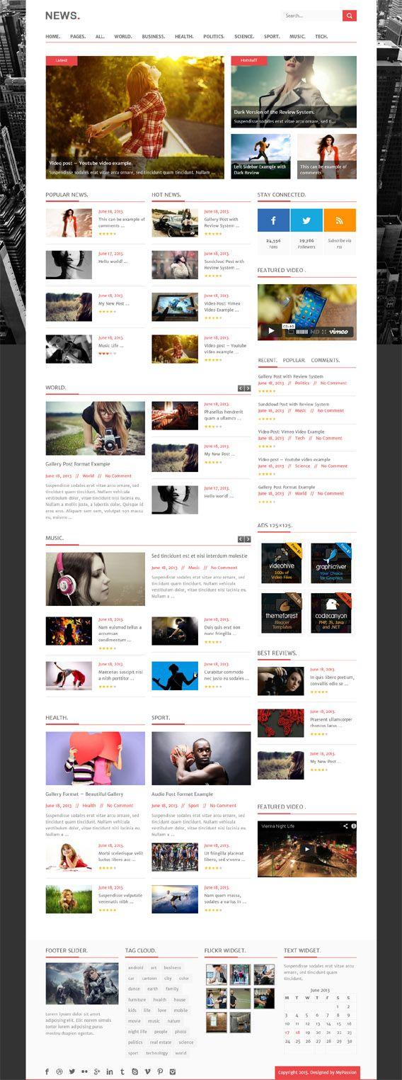 News, Premium #WordPress Rating Portal Theme