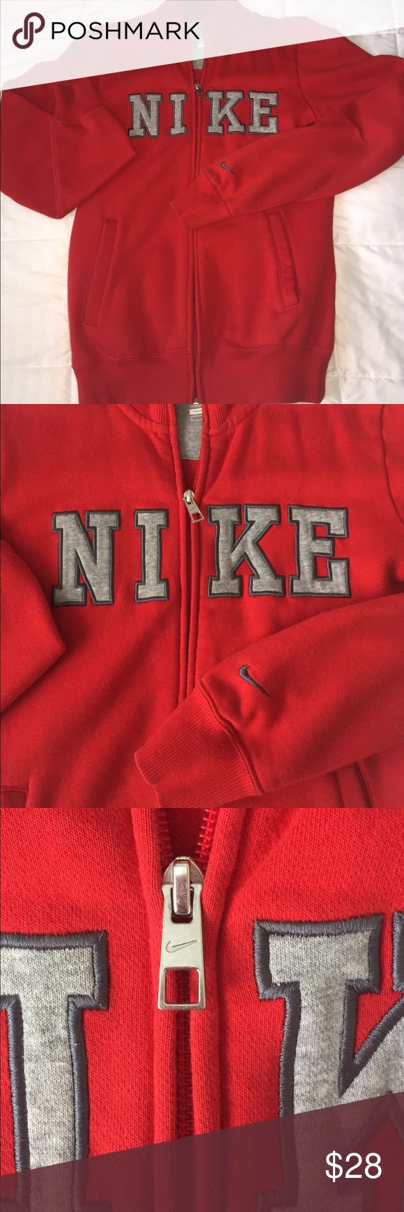 Red NIKE jacket❤ Beautiful red NIKE jacket. One of my ALL time favorites because it's soft on the inside & out! EUC 🌺 Nike Jackets & Coats