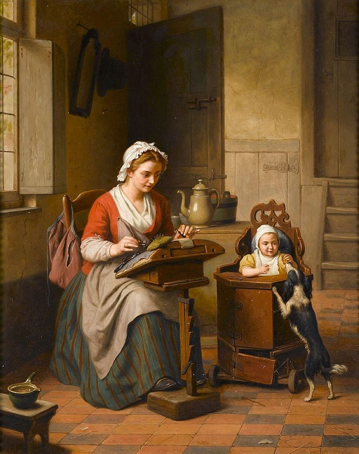 """Lacemaking as a cottage industry - you can see in 'Lacemaker' by de Loose, 1885, that a wife can make lace in her home, even with a toddler. She looks over at the baby with a """"just checking"""" expression on her face. The baby is in a sort of playpen-walker contraption. The little table is specially made for lacemaking, with adjustable height, a padded, curved top surface to stick pins in, and drawers to hold bobbins and thread."""