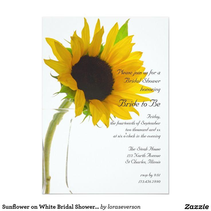 Sunflower on White Bridal Shower Invitation