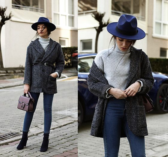 Melike Gül - Sheinside Tweed Jacket, Asos Belt, Romwe High Neck Sweater, Sheinside Jeans, Jollychic Bag, Mango Boots - Belted