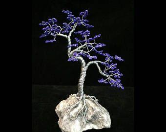 Árbol hecho a mano con cuentas Bonsai escultura de alambre - estilo Upflo