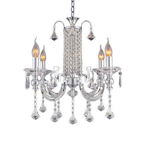 Lampux Kristallleuchter, verchromt, kristallklar, 610 mm breit und 559 mm hoch