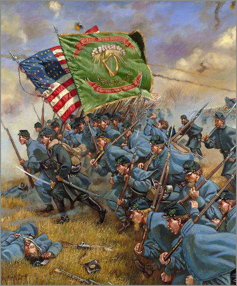 "Charge of the Irish Brigade Battle of Fredericksburg - 1862 Oil on Linen Canvas 24"" x 30""  Original Artwork - Historical Artist Mark Maritato - Civil War Art & Historical Fine Art"