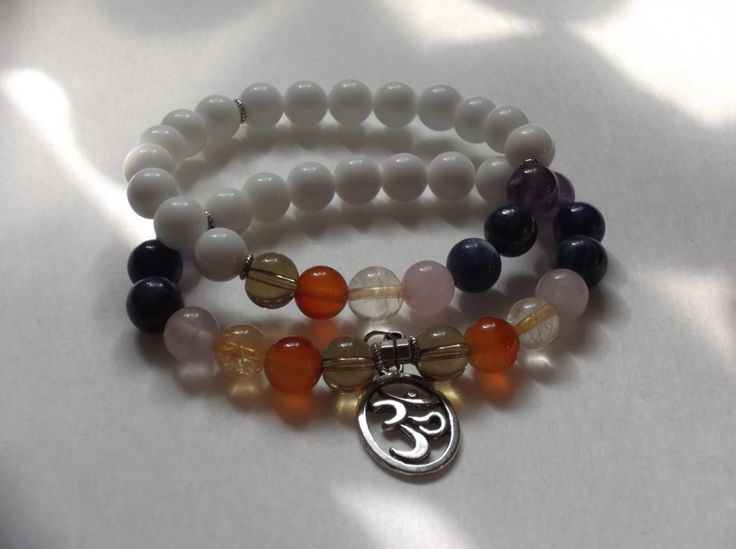2 White Alabaster Gemstone 7 Chakra Stretch Bracelet,Healing Bracelet, by HealingAuras on Etsy
