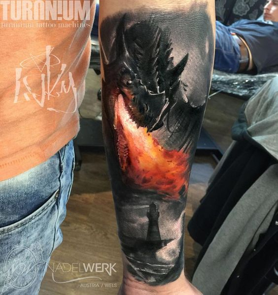 Dragon breathing fire best tattoo design ideas fly for Dragon fire tattoos