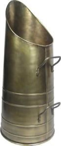 Antique-Brass-Finish-Fireside-Coal-Hod-Coal-Scuttle-With-Handles
