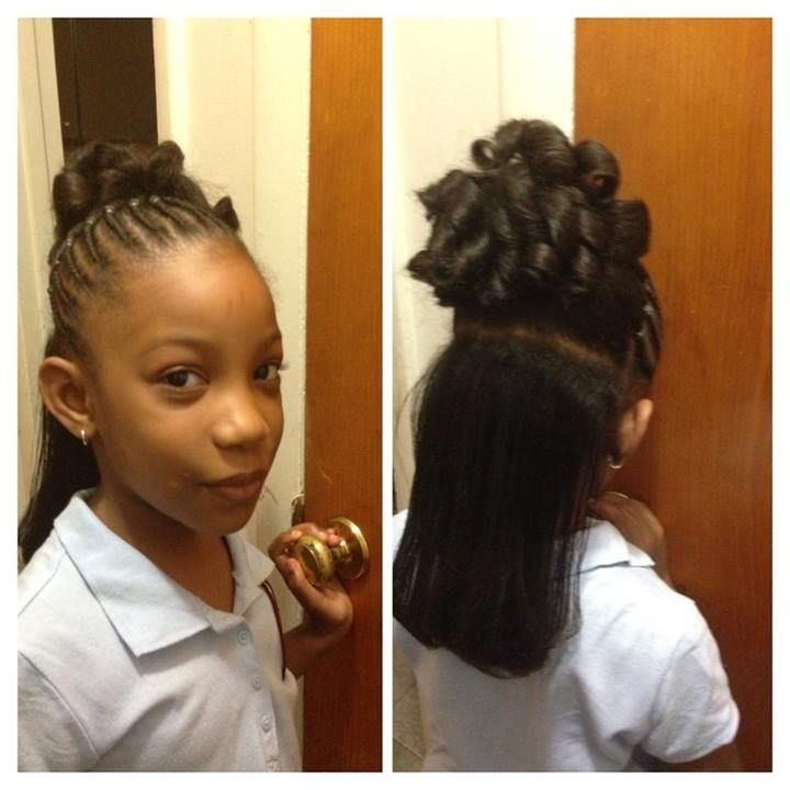 flat twist to pony tail and candy curls with flat ironed