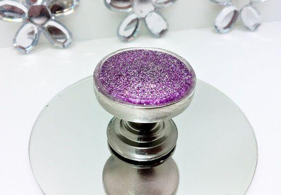 Magenta Pink Glitter Sparkle Silver Nickel Cabinet Knob