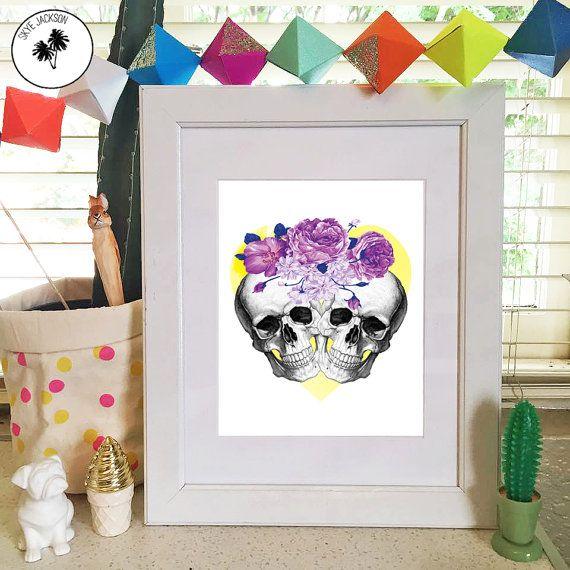 Skull skulls roses flowers love heart couple hipster by SkyeJack