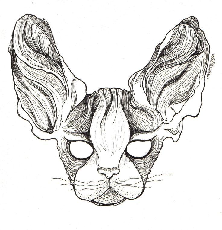 Sphynx asimétrico by @alejandravvss  #cat #asymmetrical #ink #aleksandrav