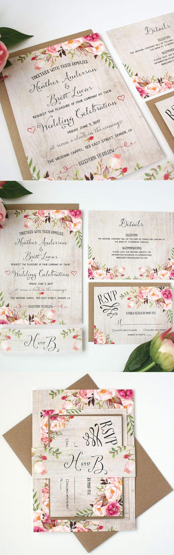 Rustic Wedding Invitations Floral Wedding Invitations