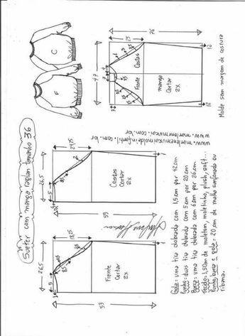 Patrón Blusa suéter raglan Patrón de una Blusa o suéter raglan para este otoño-invierno. Tallas desde la 36 hasta la 56. Talla 36: Talla 38: Talla 40: Talla 42: Talla 44: Talla 46: Talla 48: Talla 50: Talla 52: Talla 54: Talla 56: Fuente:http://www.marlenemukai.com.br/ Blusa con solapa y volanteCamisa grande estilo XXLPatrón de …