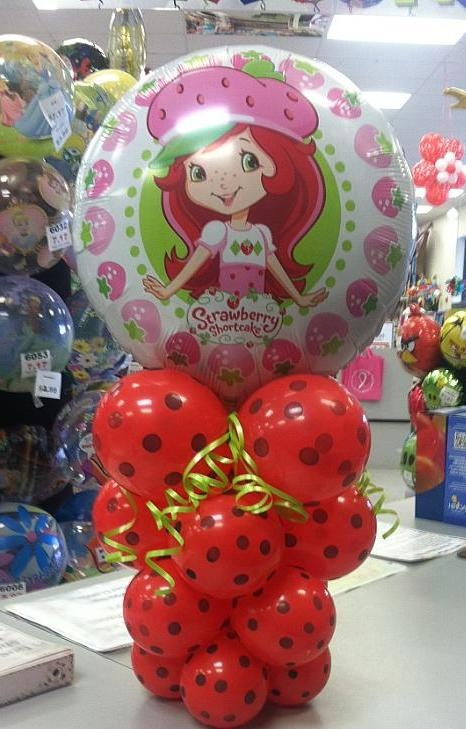 Strawberry Shortcake Balloon Centerpiece ( In Store Only) | Wally's Party Factory #strawberryshortcake #balloons #centerpiece #decor #party