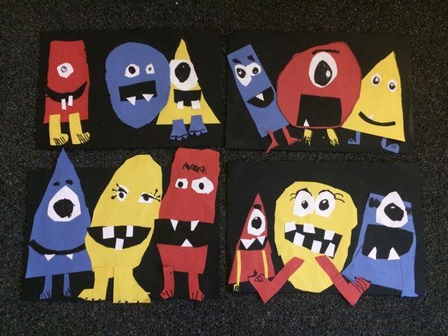 Jamestown Elementary Art Blog: Kindergarten Shape Monsters-primary colors video,  literature tie-in, Shape monsters...MUST DO!