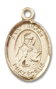 St isidore of seville patron saint medal 14kt yellow gold charm