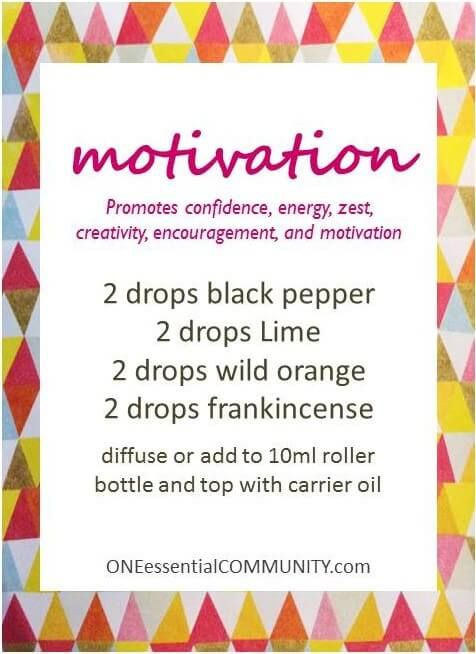 motivation diffuser blend with black pepper, lime, wild orange, and frankincense essential oils. I LOVE this blend. It smells amazing and is very uplifting!! Promotes confidence, energy, zest, creativity, encouragement, and motivation