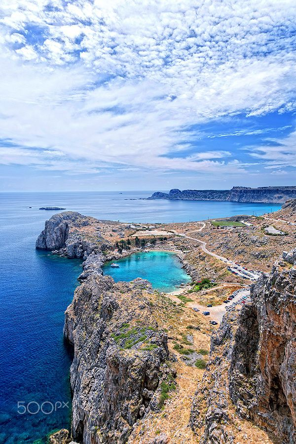 Blue Lagoon at St Paul's bay in Lindos - Rhodes, Greece