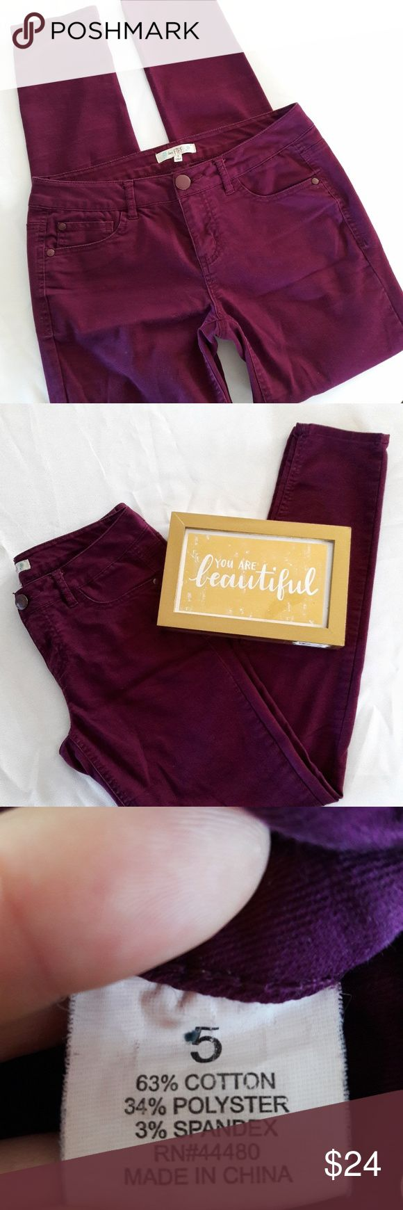 """Love Fire Maroon Skinny Jeans Juniors 5 Maroon Skinny Jeans by Love Fire. Juniors size 5, they measure 14.5"""" across the waist and 29"""" inseam.   Material is 63% cotton, 34% polyester, and 3% spandex.   This is an EUC item: it has been inspected for quality and wear.   Bundle + save! Offers are welcome :) Love Fire Jeans Skinny"""
