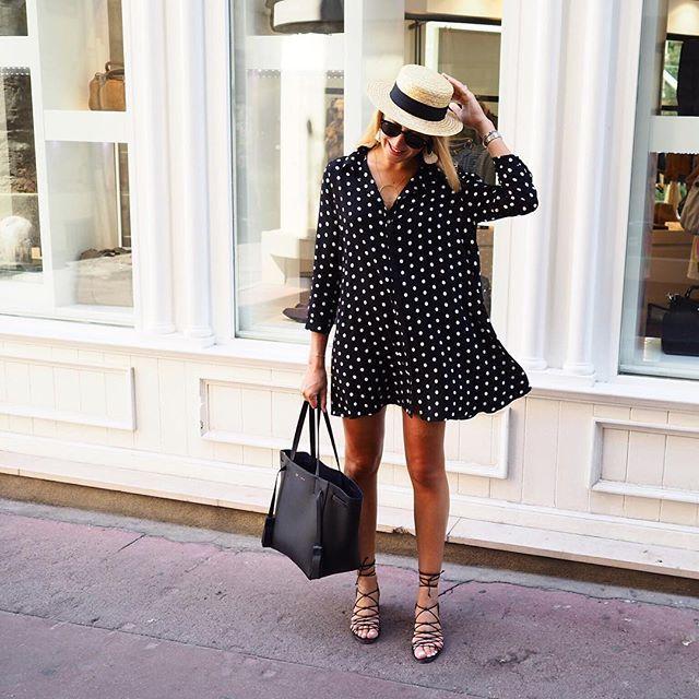 P o i s #outfit #outfitoftheday • Robe (new co) #zara • Sandales #mango • Chapeau #canotier • BO #elisetsikisparis • Collier #lesfeesmere • Cabas #phantom #celine  Un touche rétro dans mon dressing