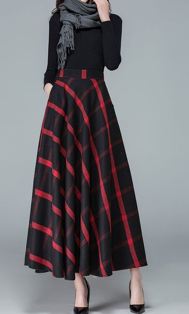 black and red plaid wool maxi skirt with hidden side pockets