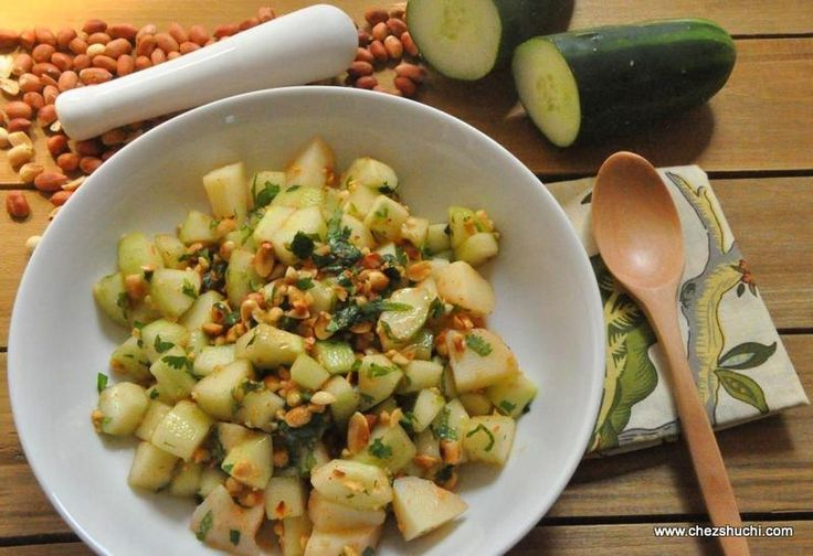 Cucumber, potato and peanut salad for Navratri fast! खीरे,आलू और मूंगफली का सलाद व्रत के लिए! http://www.chezshuchi.com/cucumber-potato-peanut-salad-with-lemon-dressing-for-fast-hindi.html