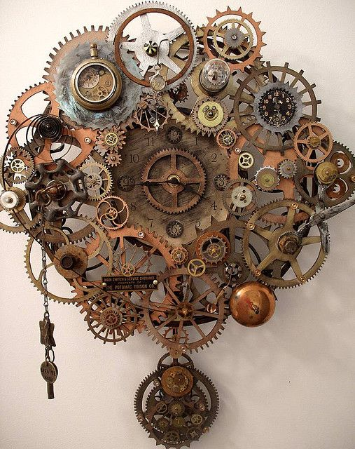 """Steampunk Breathe Pendulum Clock by Erin Keck.  More here!  This is a steampunk clock that was created for  """"New Artist"""" Gallery showing at Gallerie 13 in Mechanicsburg, PA"""