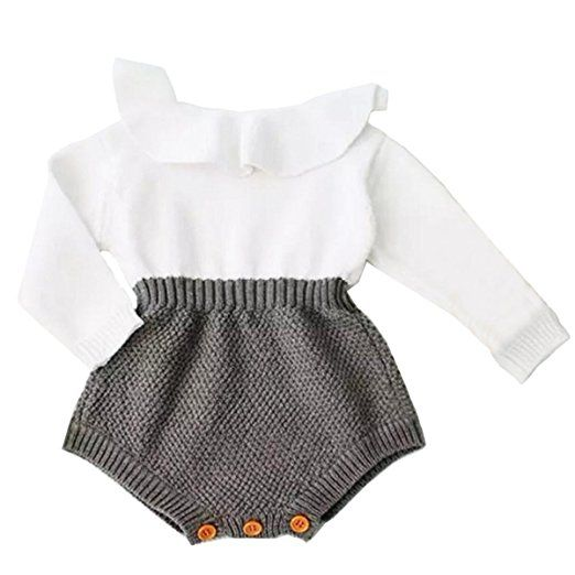 423f693e9 Baby Girls Romper Knitted Ruffle Long Sleeve Jumpsuit Baby Kids Girl ...