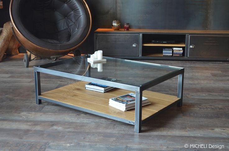 29 best tables basses sur mesure images on pinterest industrial style industrial - Fabrication table bois ...