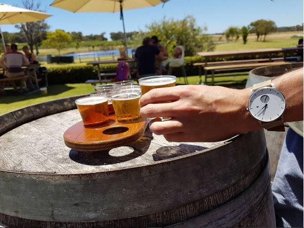WHY Watches signature model 1 with tan strap. Shot at the Cheeky Monkey in Margaret River, Western Australia.