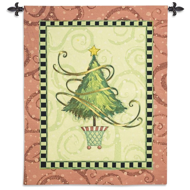 USA Woven Tapestry Wall Hanging Christmas Topiary