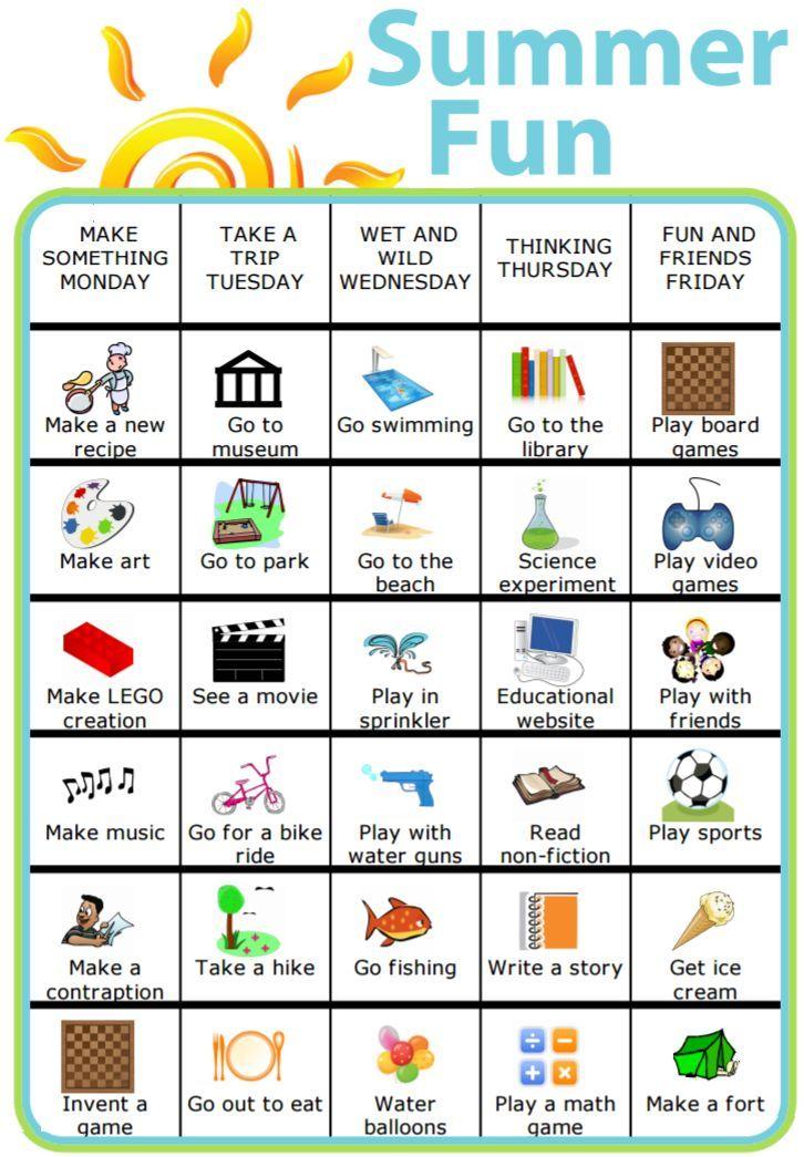 Summer Fun | Routine charts | Kids summer schedule, Summer ...