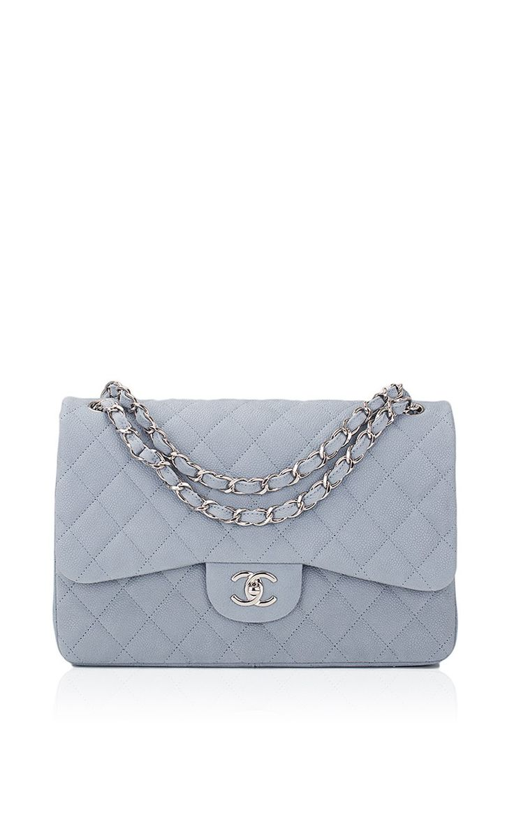 Leather quilted handbags and purses - Chanel Pastel Blue Iridescent Quilted Matte Caviar Jumbo Classic Bag By Madison Avenue Couture For Preorder