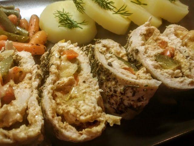 roladki z kurczaka z musztardą gotowane na parze