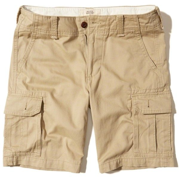 Hollister Classic Fit Cargo Shorts (532.735 IDR) ❤ liked on Polyvore featuring men's fashion, men's clothing, men's shorts, light khaki, mens khaki cargo shorts, mens khaki shorts, mens cargo shorts, mens cotton cargo shorts and mens cotton shorts