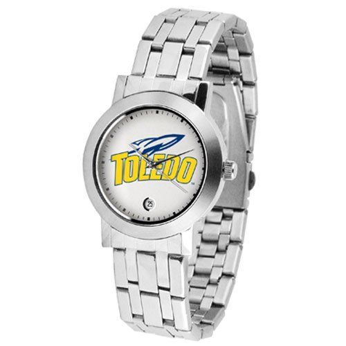 "Toledo Rockets NCAA ""Dynasty"" Mens Watch by SunTime. $84.60. Scratch Resist Face. Stainless Steel Case. Date Display. Elegant design for the modern man or woman who wants to show their team spirit! The dial is presented in a sleek, stainless steel case and bracelet that rests fashionably yet comfortably across the wrist. Features a convenient date display, quartz accurate movement and a scratch resistant mineral crystal face."