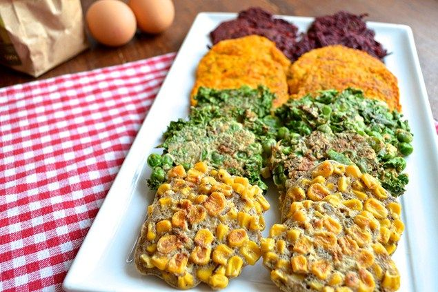 These are the perfect finger food for babies – we've used beetroot, kale, squash and sweetcorn to create these rainbow style fritters