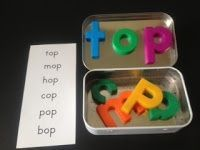Word tin work work idea - use magnetic letters in tins to practice word families or phonics patterns