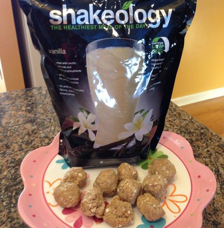 Have a little extra Shakeology on your hands or just want to have a healthy treat? These are DELICIOUS and taste like you are eating something WAY off plan! Anything mixed with peanut butter is a winner in my book!  Fit Mom Angela D Posts