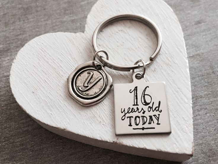 16 years old today, 16th Birthday, Sweet 16, Sweet sixteen, Sixteenth birthday, Happy Birthday, gifts for, Silver Keychain, Silver Keyring by SAjolie, $19.95 USD
