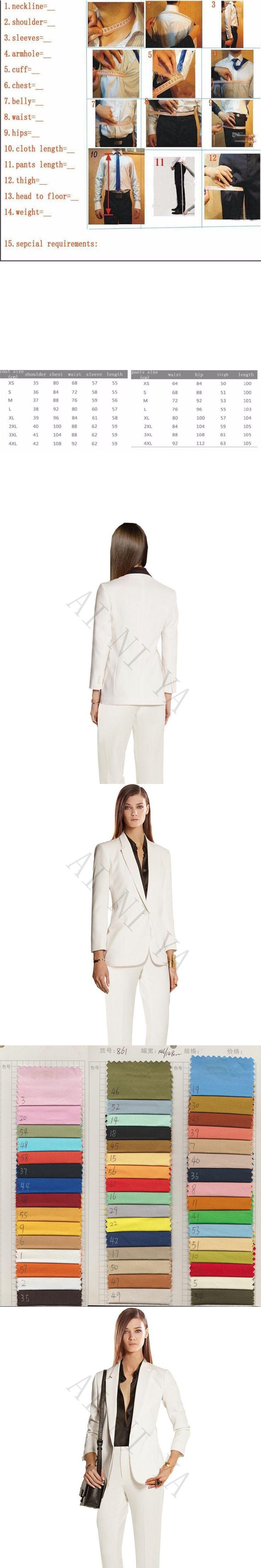 Jacket+Pants Womens Business Suits Ivory Female Office Uniform Formal Work Wear Ladies Trouser Suit 2 Piece Set Custom
