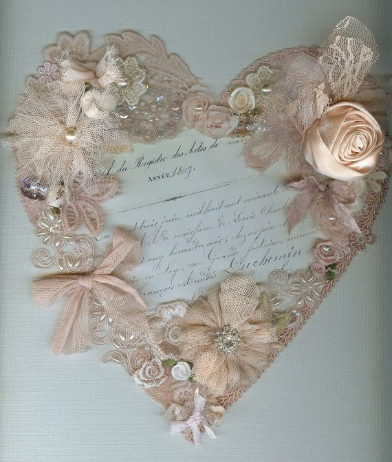 canvas heart. embellished heart handmade by MissRoseSisterViolet