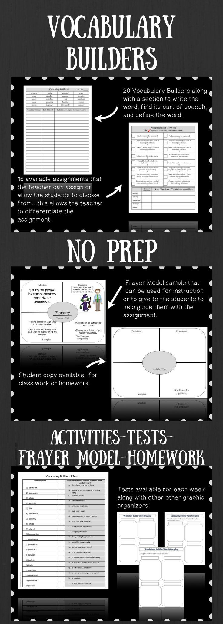 Vocabulary Builders 20 Week Unit...Each week, your students will be exposed to 20 vocabulary words that are synonyms for words they use every day.  Each week, similar words start to repeat and the students' vocabulary will begin to build.  Throughout the year, you'll see your students' vocabulary take off! There are 16 possible activities for each week along with a class work and homework planner.