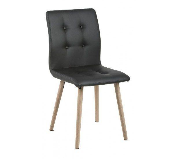 Sue Spisebordsstol - Sort PU læder - Spisebordsstol med egetræsben
